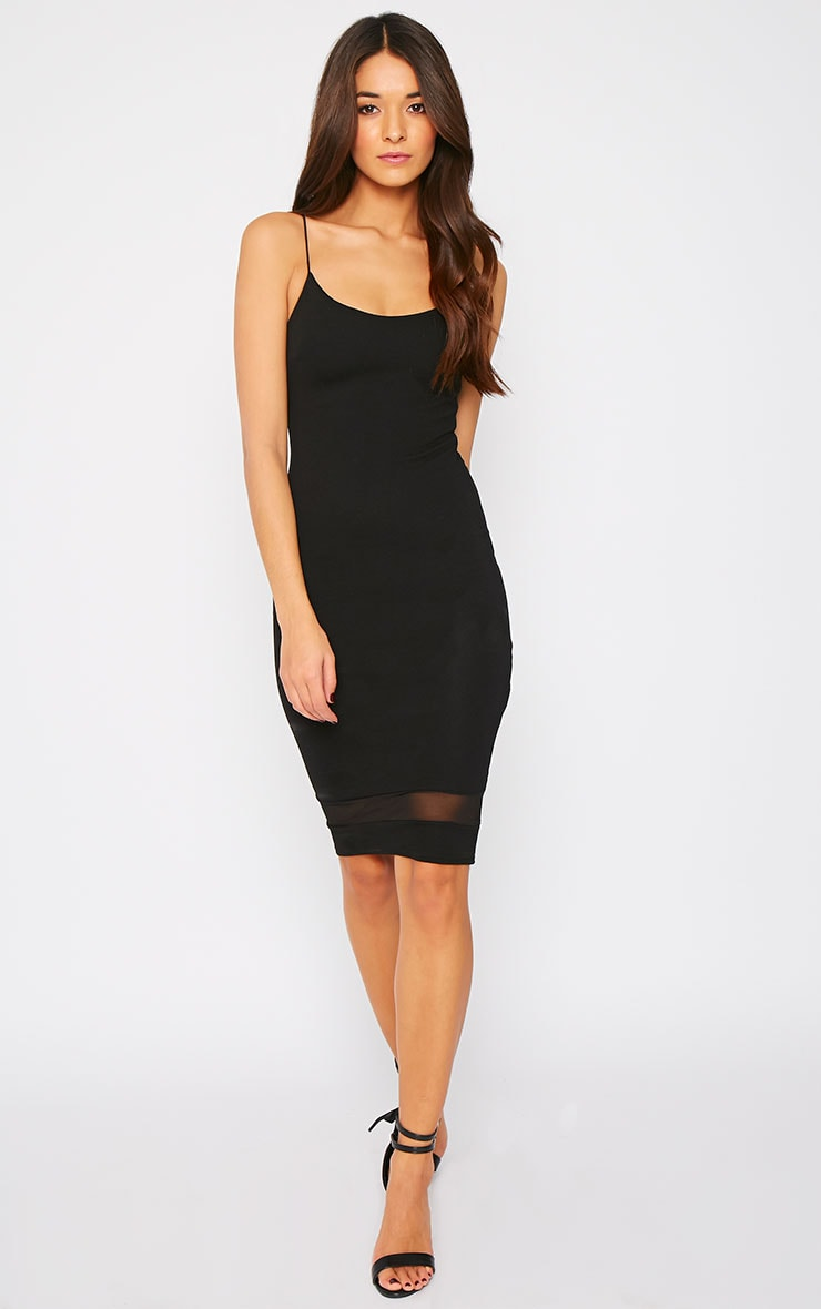 Ryleigh Black Mesh Insert Midi Dress 4
