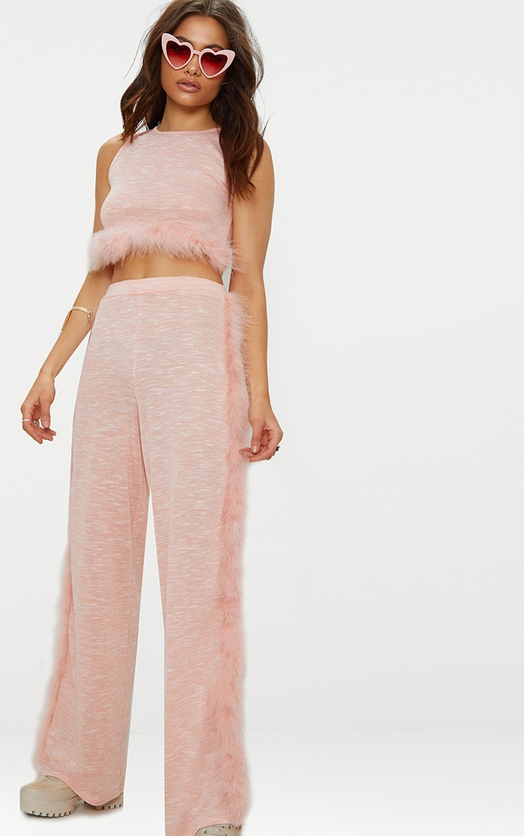 Pink Feather Trim Wide Leg Knitted Trousers 1