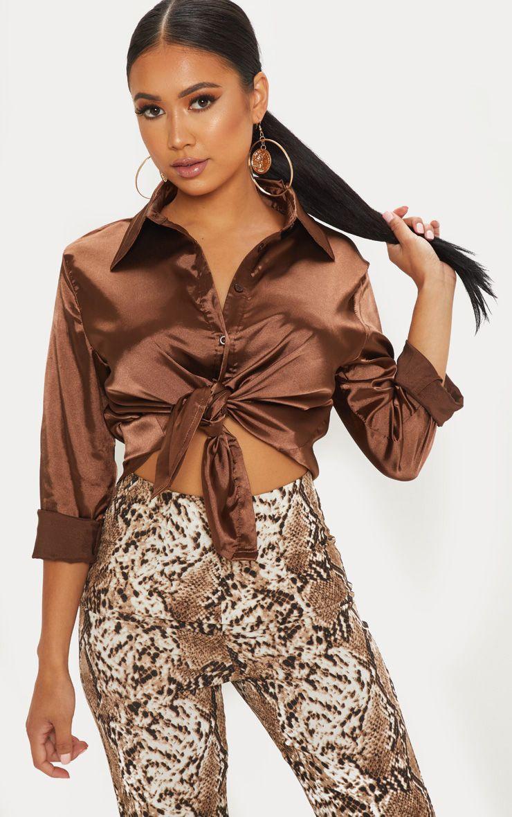 Petite Chocolate Brown Satin Shirt 1