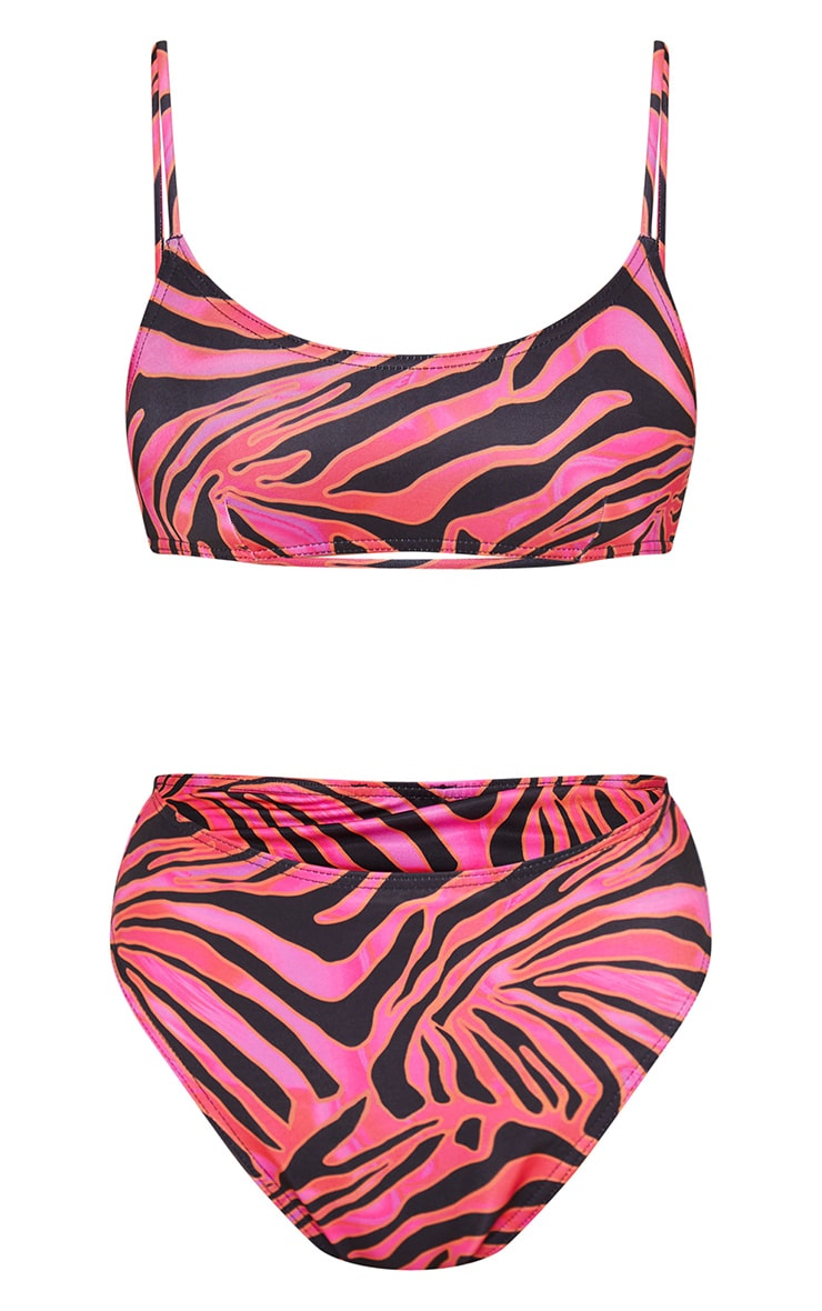 Hot Pink Zebra Print High Waist High Leg Bikini Bottom 6