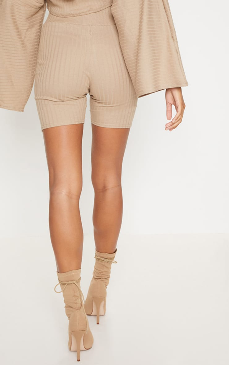 Taupe Rib High Waisted Cycling Shorts 4