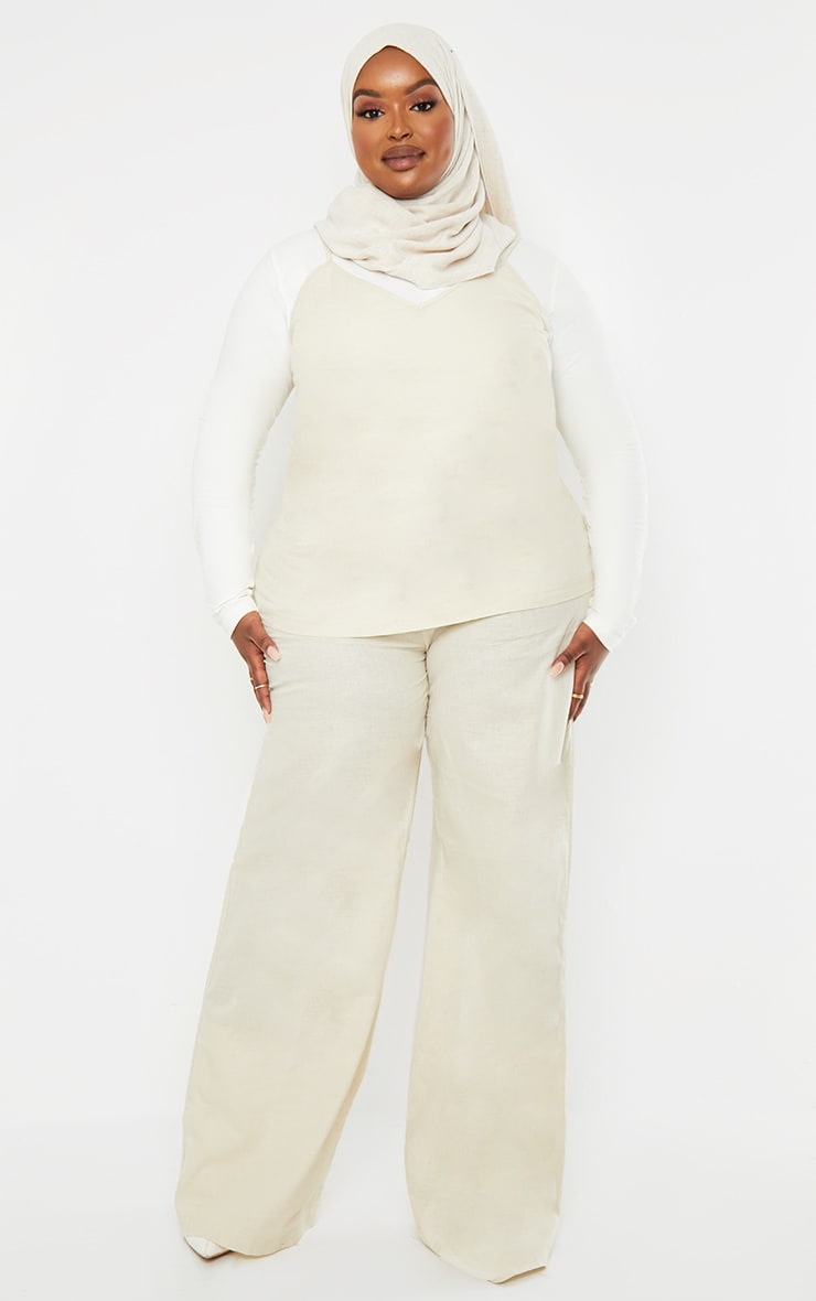 Plus Cream Woven Wide Leg Pant 1