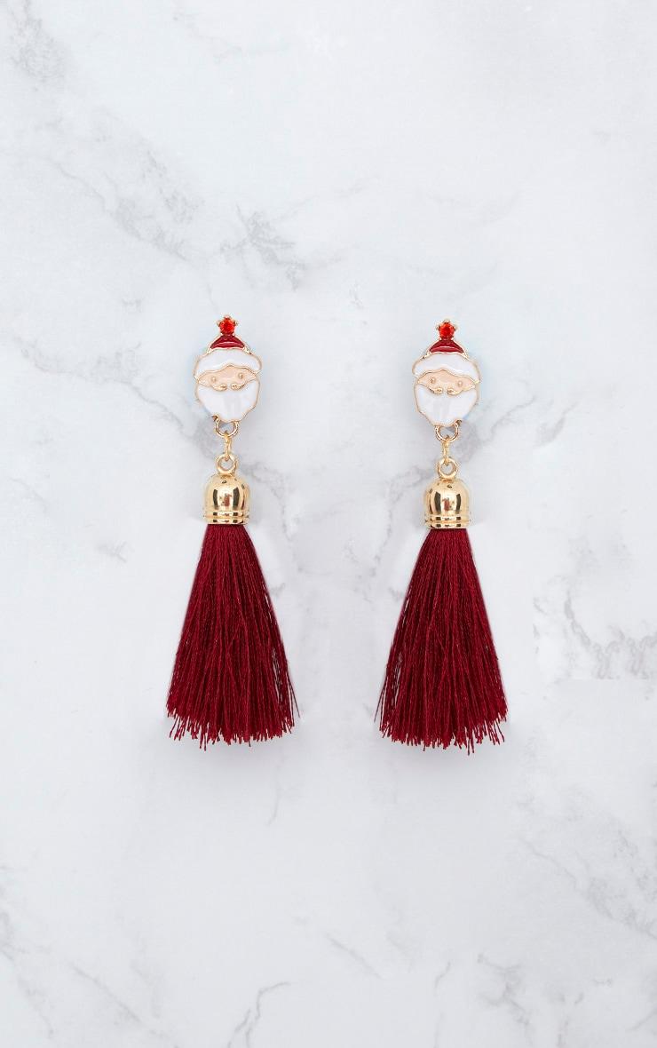 Red Santa Claus Christmas Tassel Earrings 4