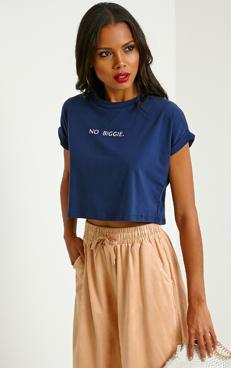 Jace Navy Slogan Crop T-Shirt 4