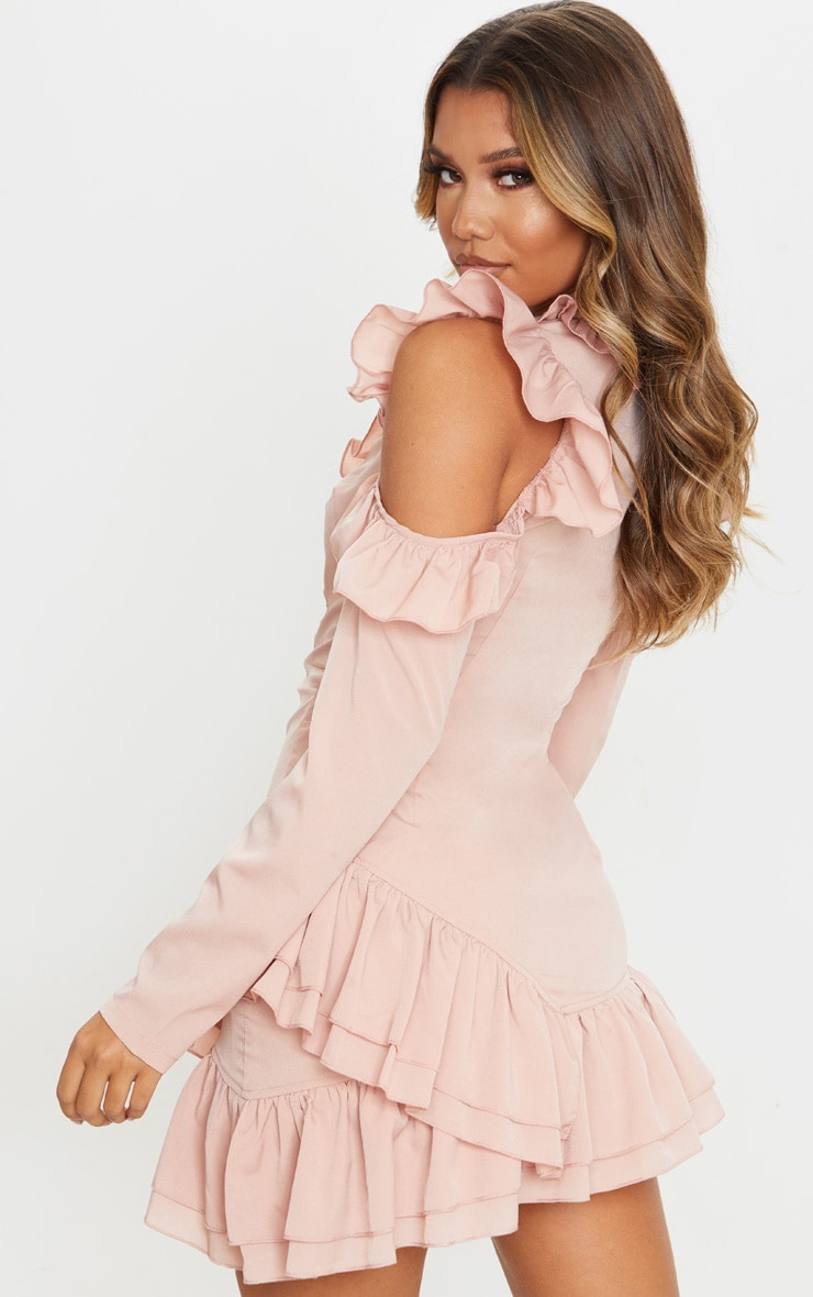 Dusty Pink Ruffle Detail Cold Shoulder Bodycon Dress 2