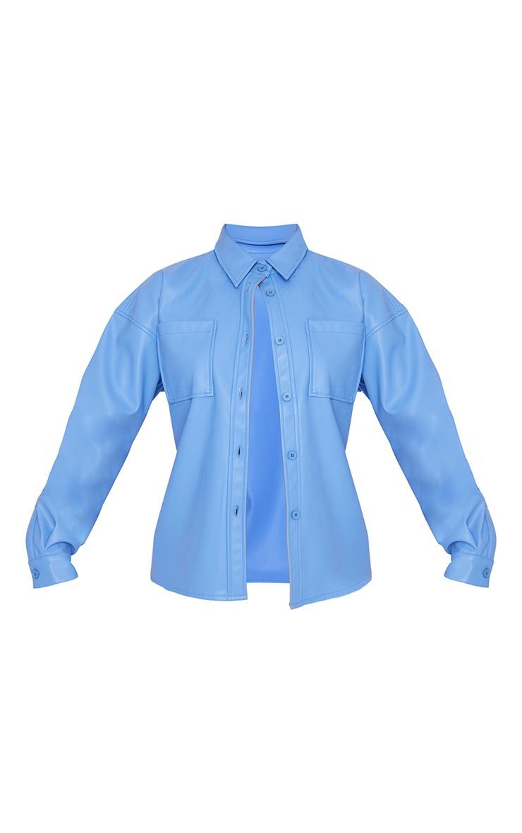 Cornflower Blue Faux Leather Oversized Shirt 5