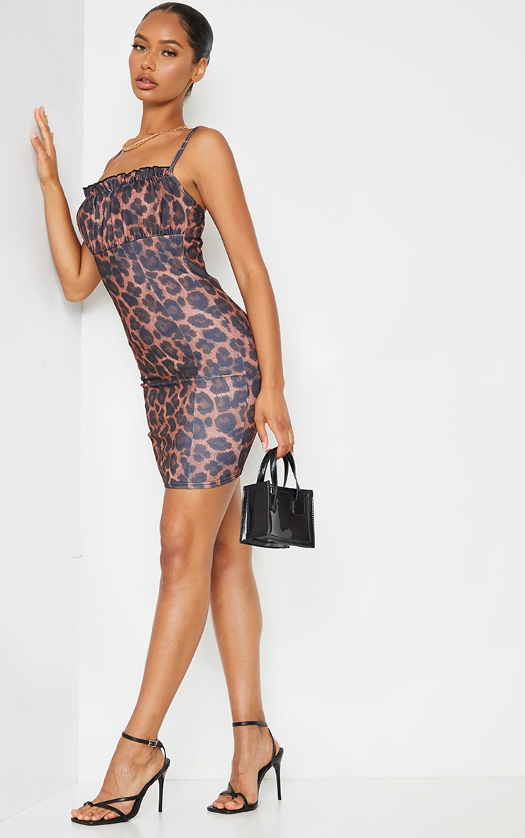 Brown Leopard Print Ruched Bust Strappy Bodycon Dress 3
