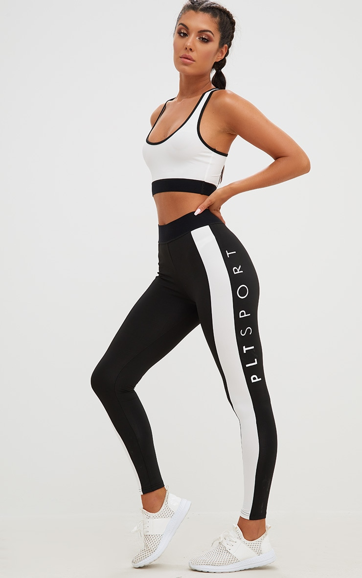 PRETTYLITTLETHING Black Monochrome Gym Leggings 1