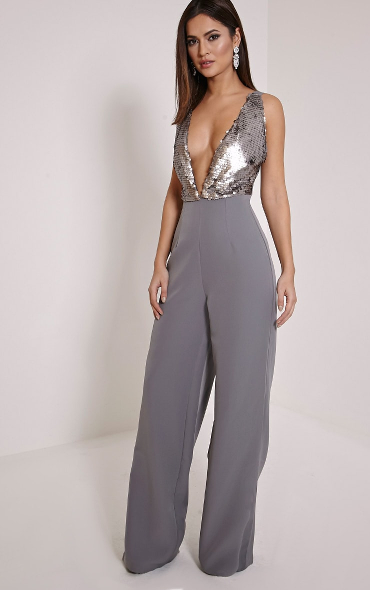 Darcey Silver Sequin Plunge Cross Back Jumpsuit ...