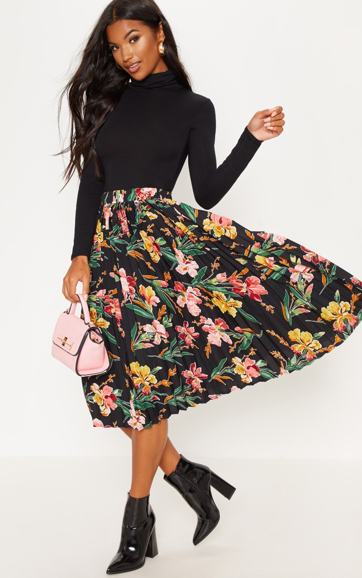 Black Floral Printed Pleated Midi Skirt
