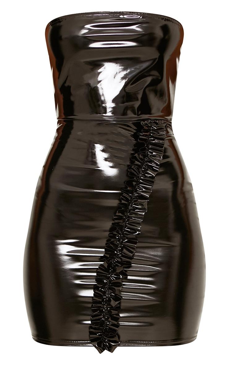 Black High Shine PU Frill Bandeau Bodycon Dress 3