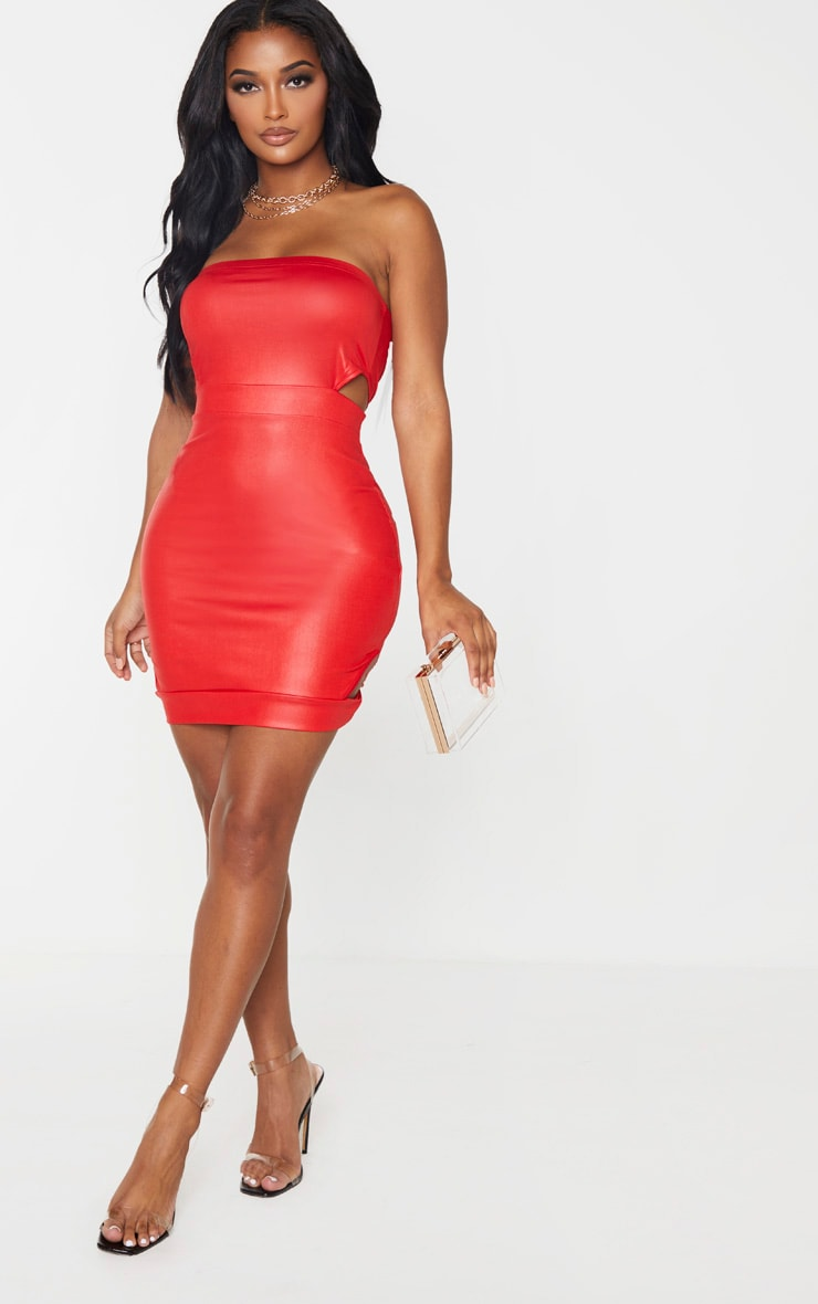Shape Red Wet Look Bandeau Cut Out Side Bodycon Dress 4