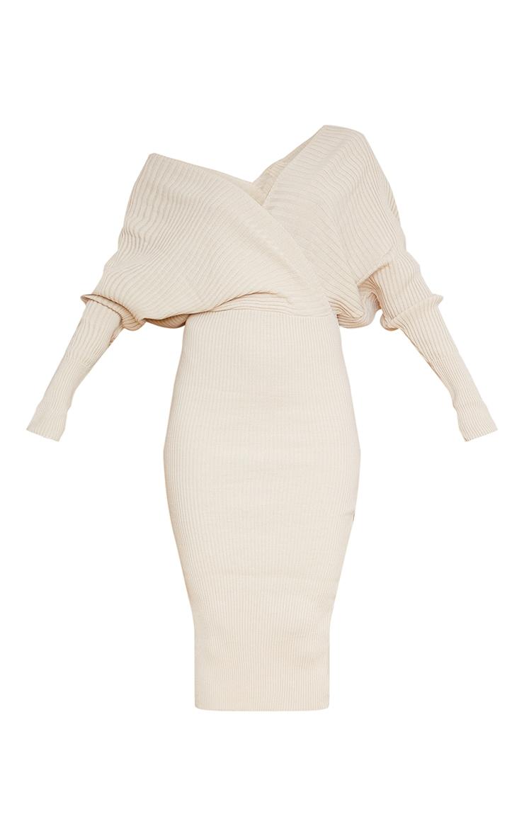 Stone Wrap Off The Shoulder Midi Dress 6