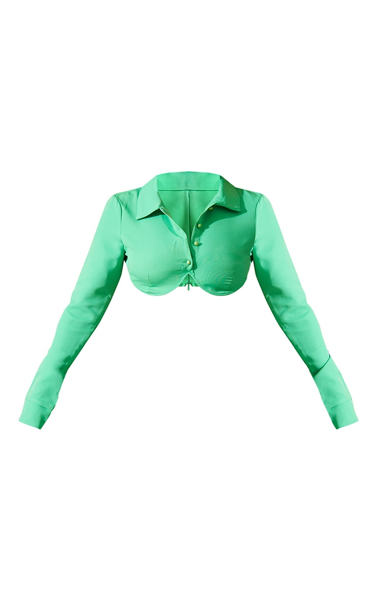 Bright Green Woven Button Front Underbust Detail Cropped Shirt 5