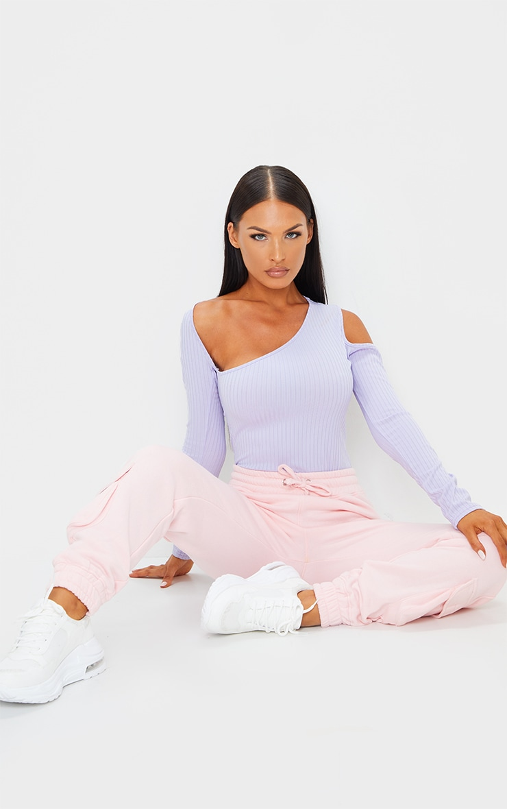 Dusty Lilac Rib Cut Out Long Sleeve Bodysuit 3