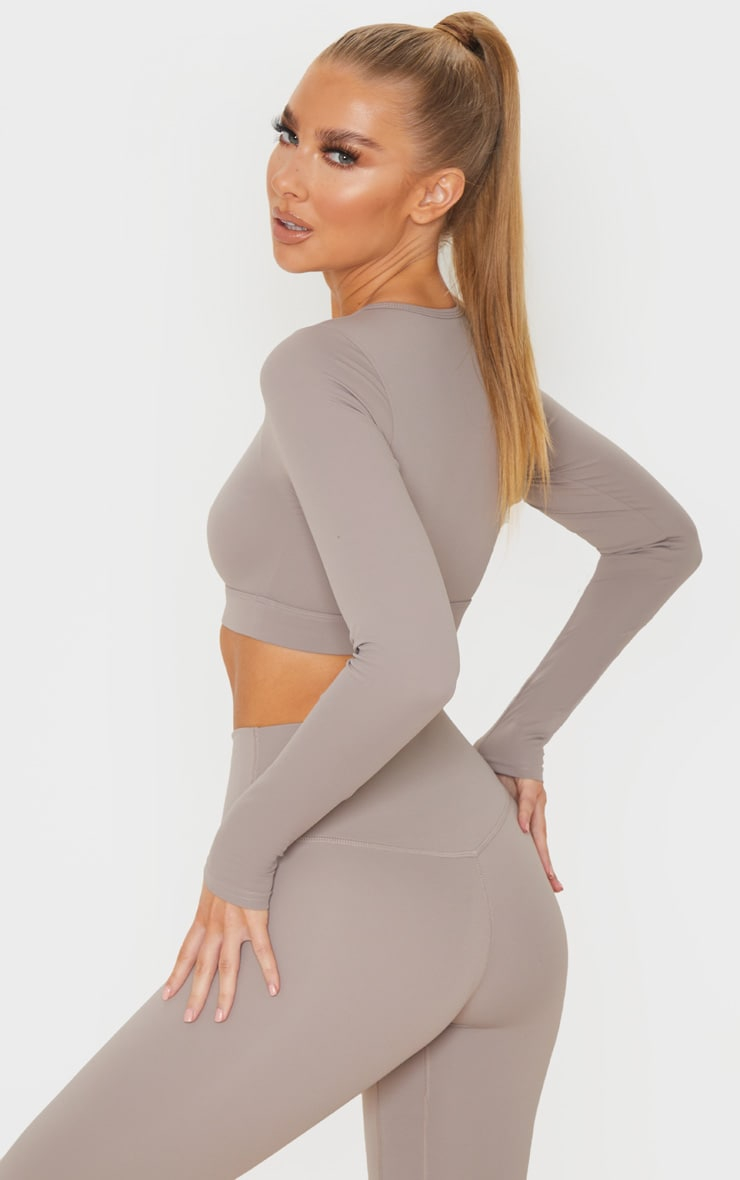 Taupe Sculpt Luxe Long Sleeve Sports Top 2