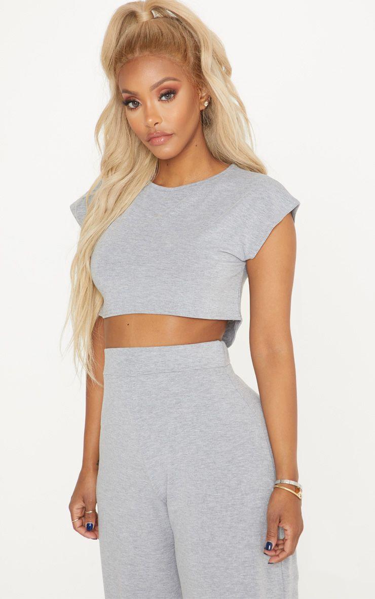 Shape Grey Marl Jersey Extreme Crop T-Shirt  1