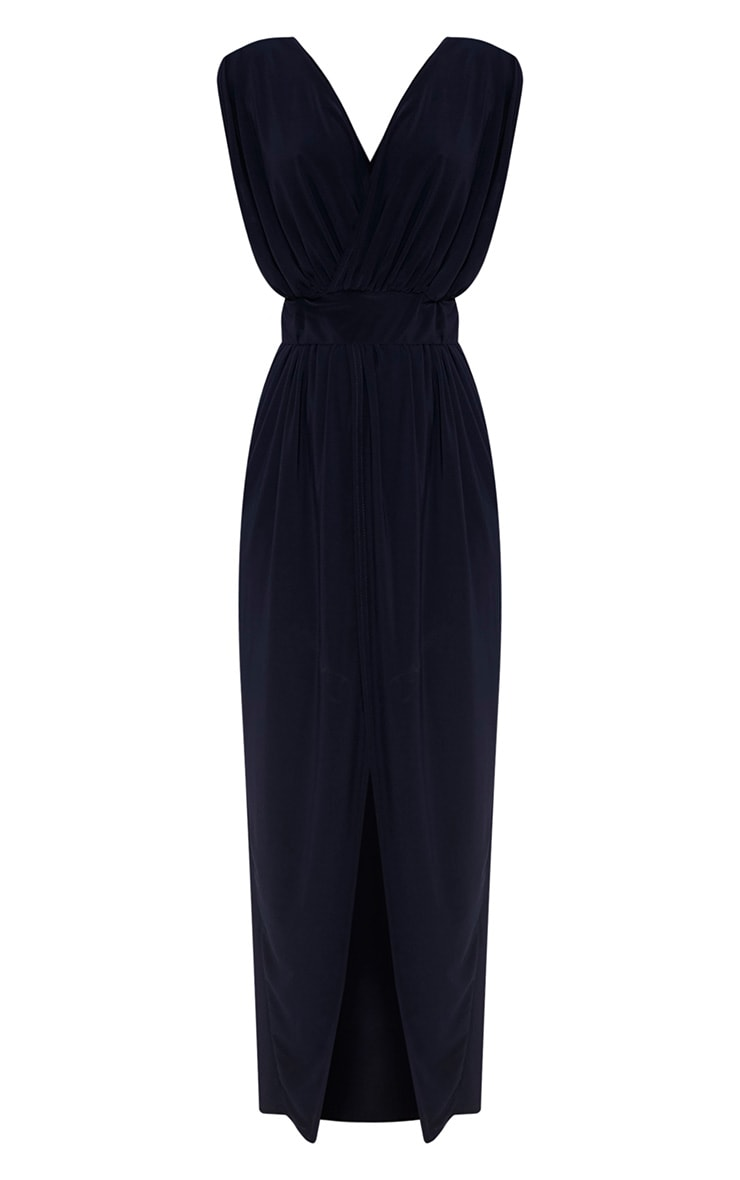 Marlisa Navy Slinky Plunge Maxi Dress 2