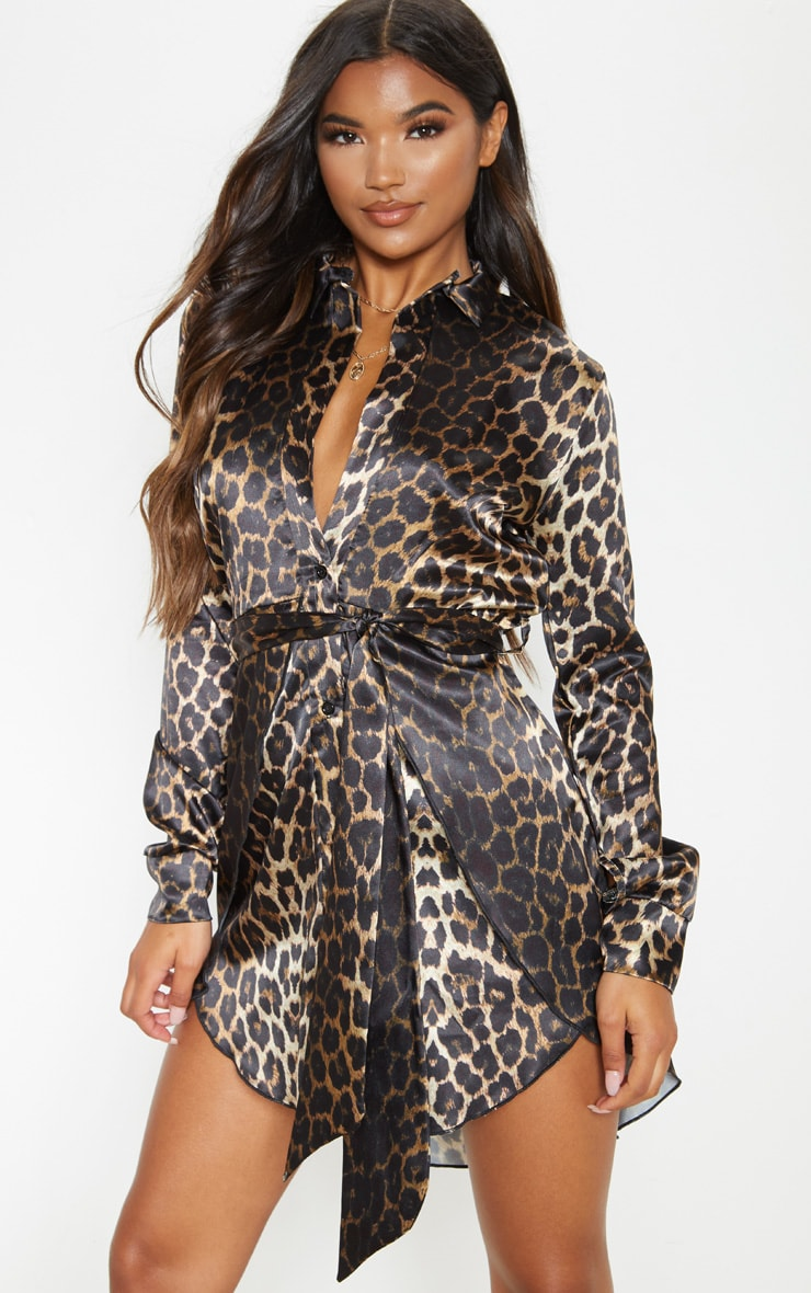 Tan Leopard Print Satin Tie Waist Curve Hem Shirt Dress 1
