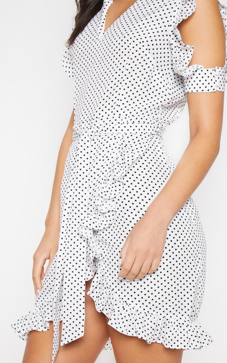 White Polka Dot Cold Shoulder Frill Tie Shift Dress 5