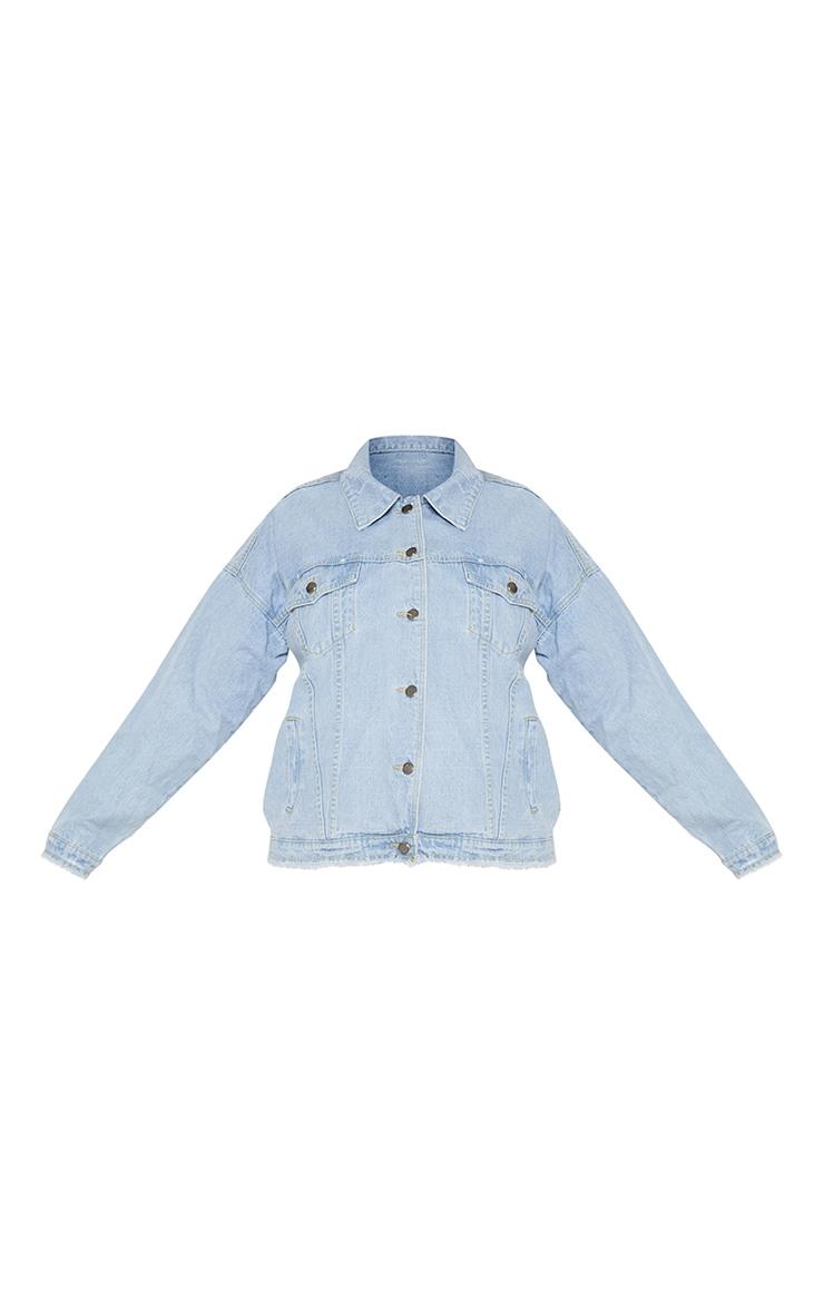 Plus Light Wash Distressed Oversized Denim Jacket 4