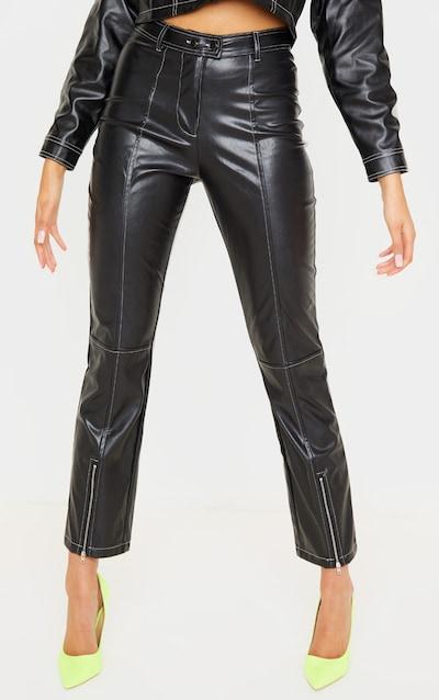 Black Contrast Stitch PU Straight Leg Trouser