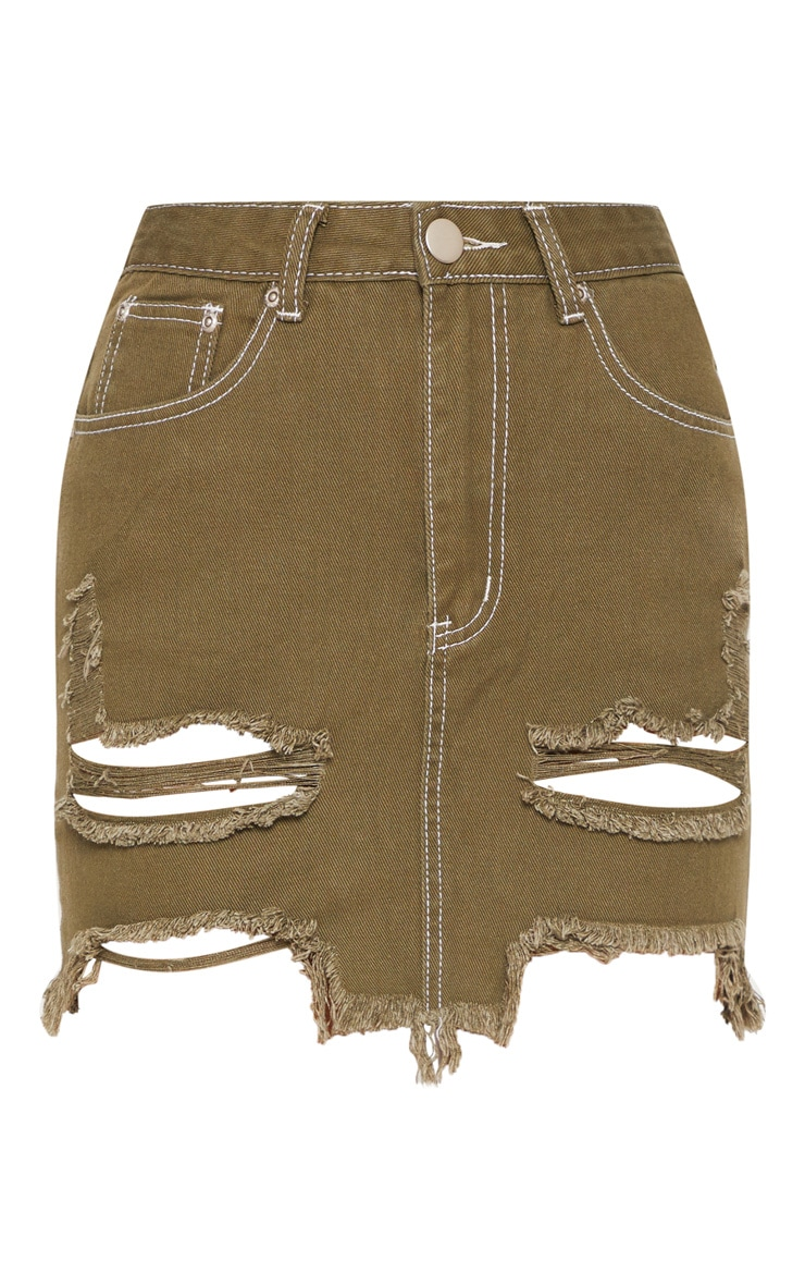 Khaki Contrast Stitch Distressed Denim Mini Skirt  3