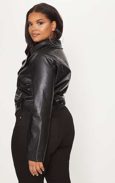 Plus Black PU Biker Jacket