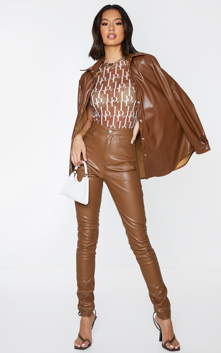 Chocolate Button Up Faux Leather Skinny Trousers 1