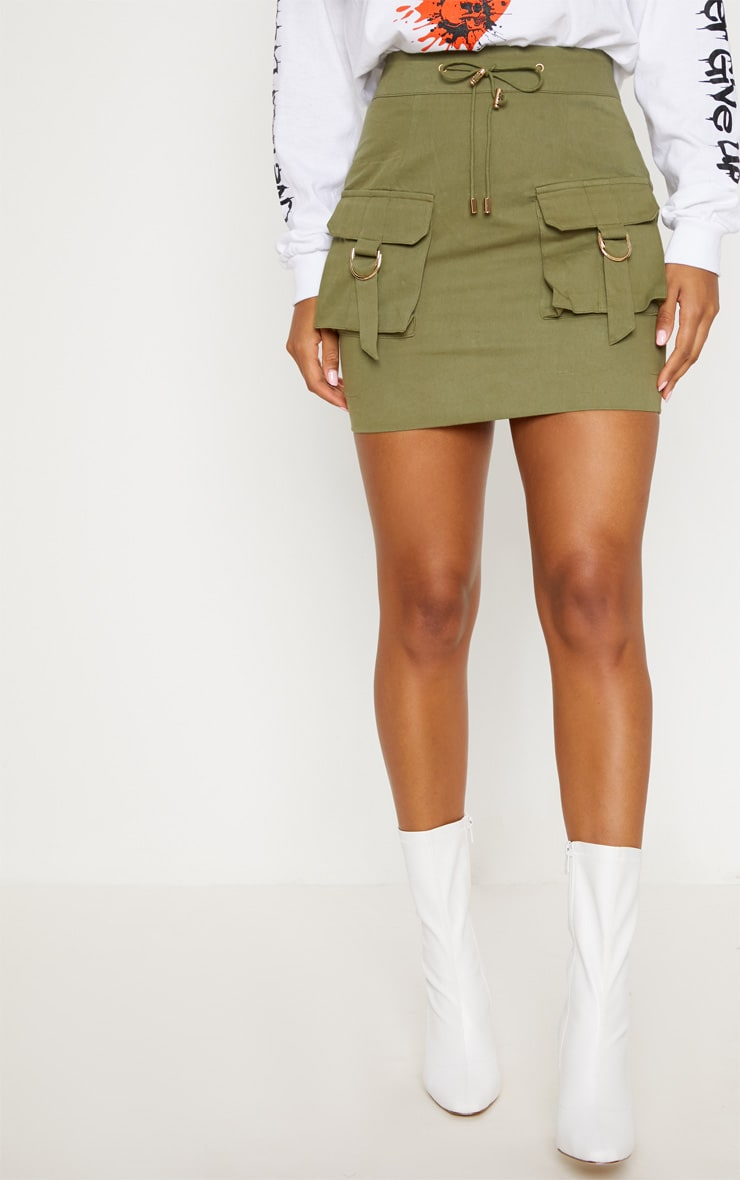 Khaki Cargo Pocket Detail Mini Skirt 2