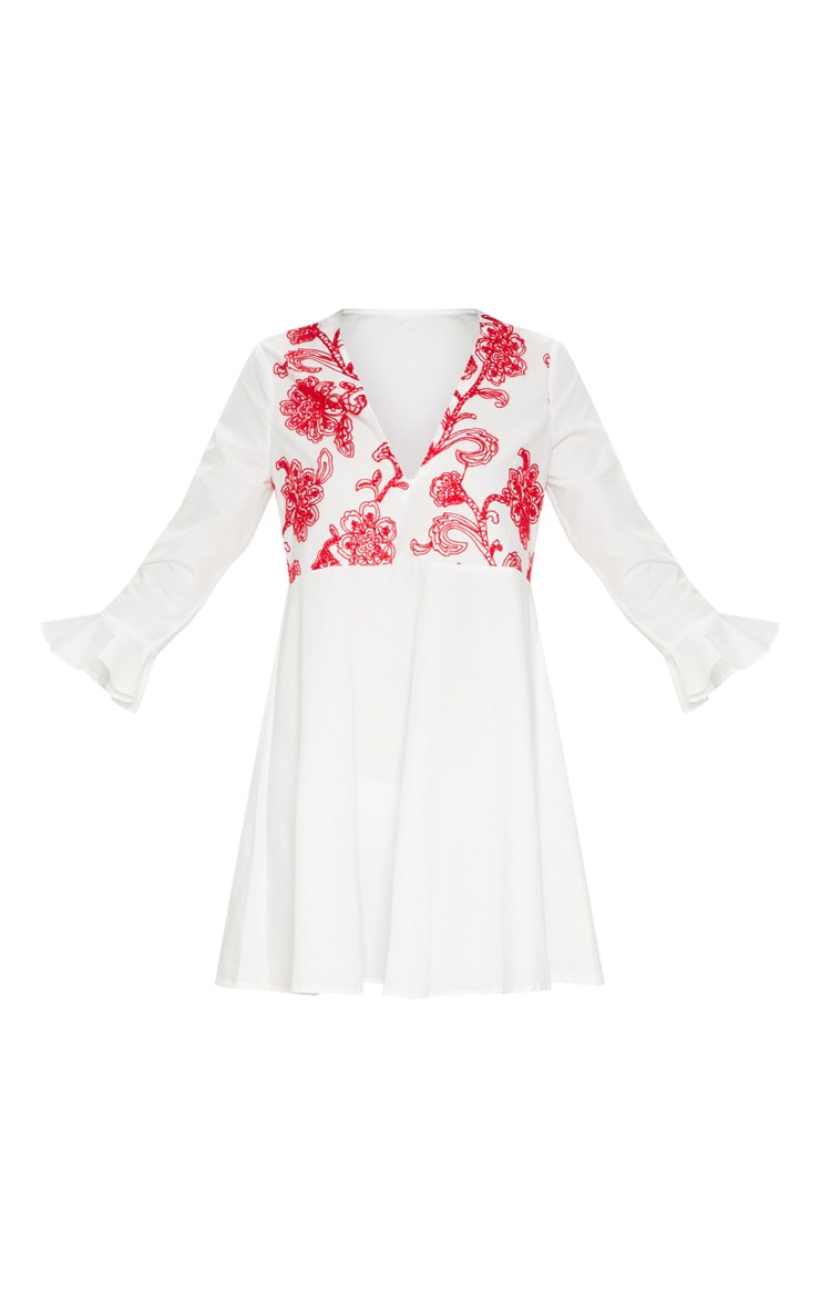 White Embroidered Frill Sleeve Smock Dress  3