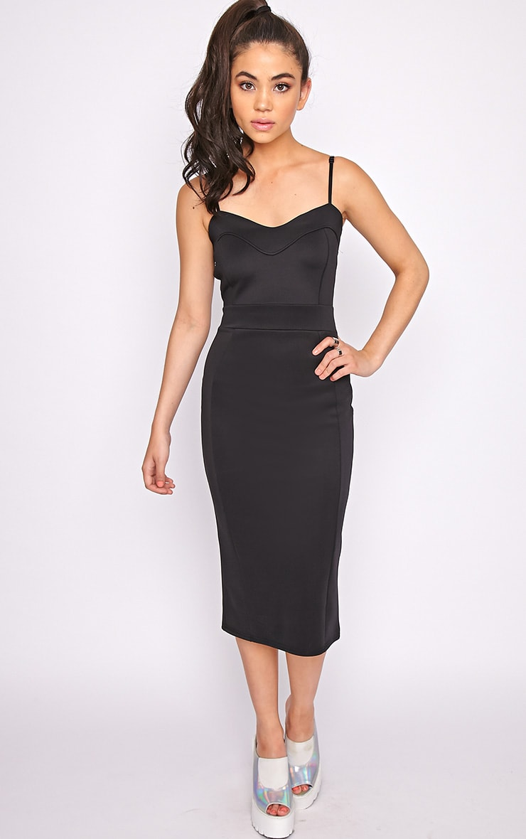 Traci Black Bodycon Midi Dress 5