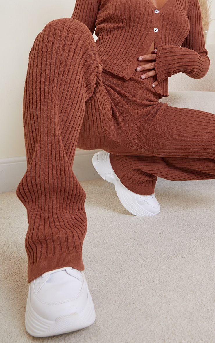 Rust Ribbed Flare Hem Knitted Trouser 4