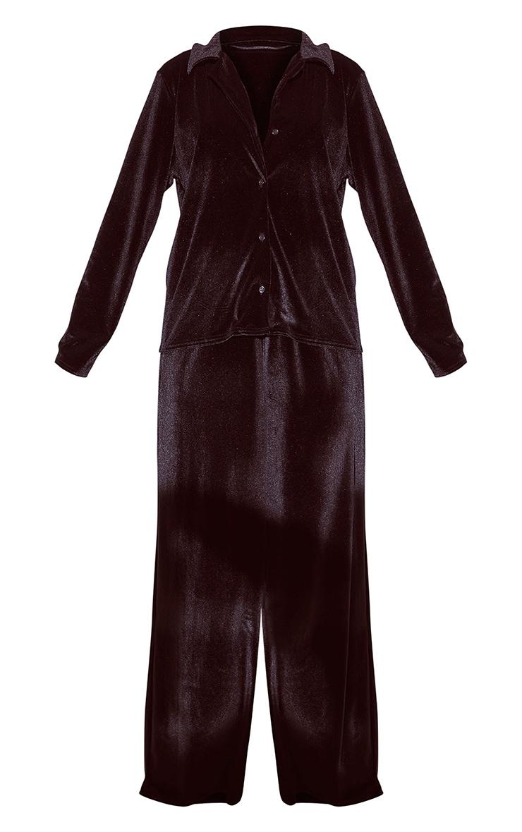 Black Velour Button Up Long PJ Set 5