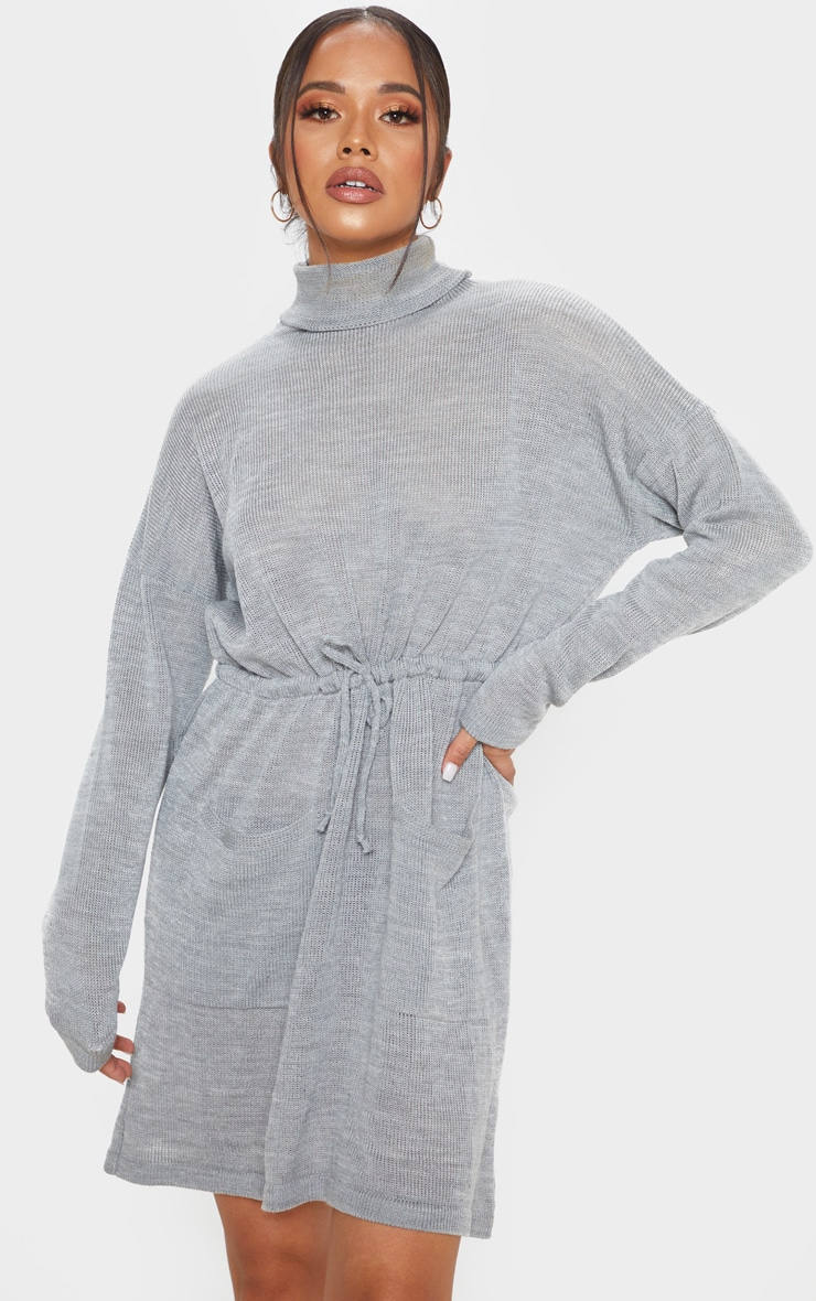 Grey Ruched Waist Knitted Dress 4