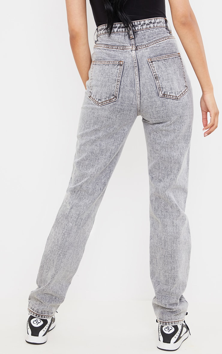 Tall  Grey With Contrast Stitch Long Leg Straight Jeans 3