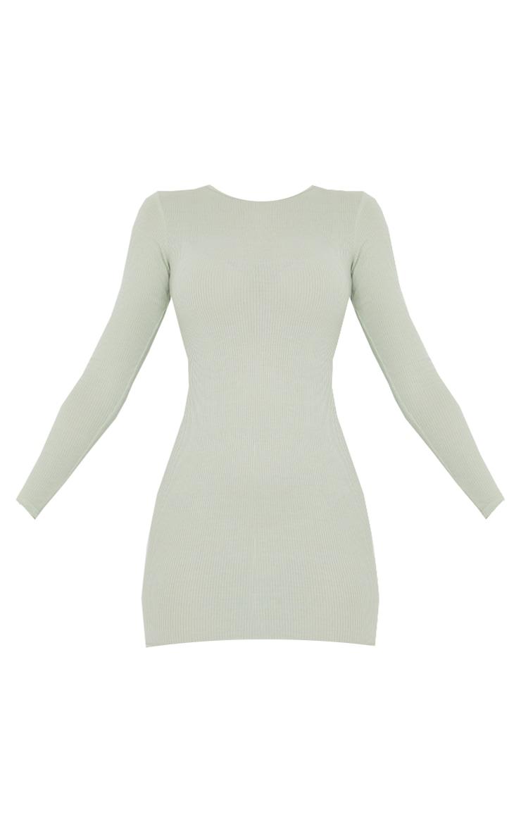 Sage Green Ribbed Long Sleeve Bodycon Dress 5
