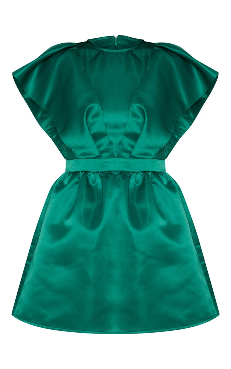 Emerald Green Satin Ruffle Sleeve Skater Dress 3