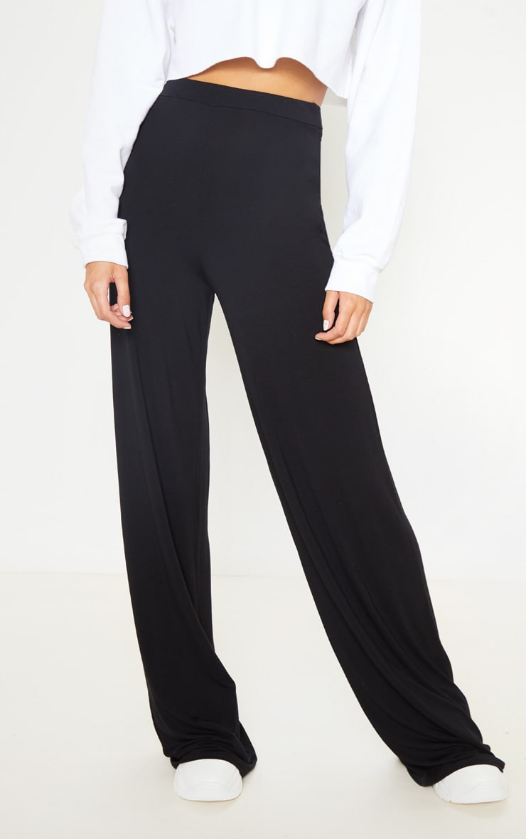 Tall Black Basic Jersey Wide Leg Pants 2