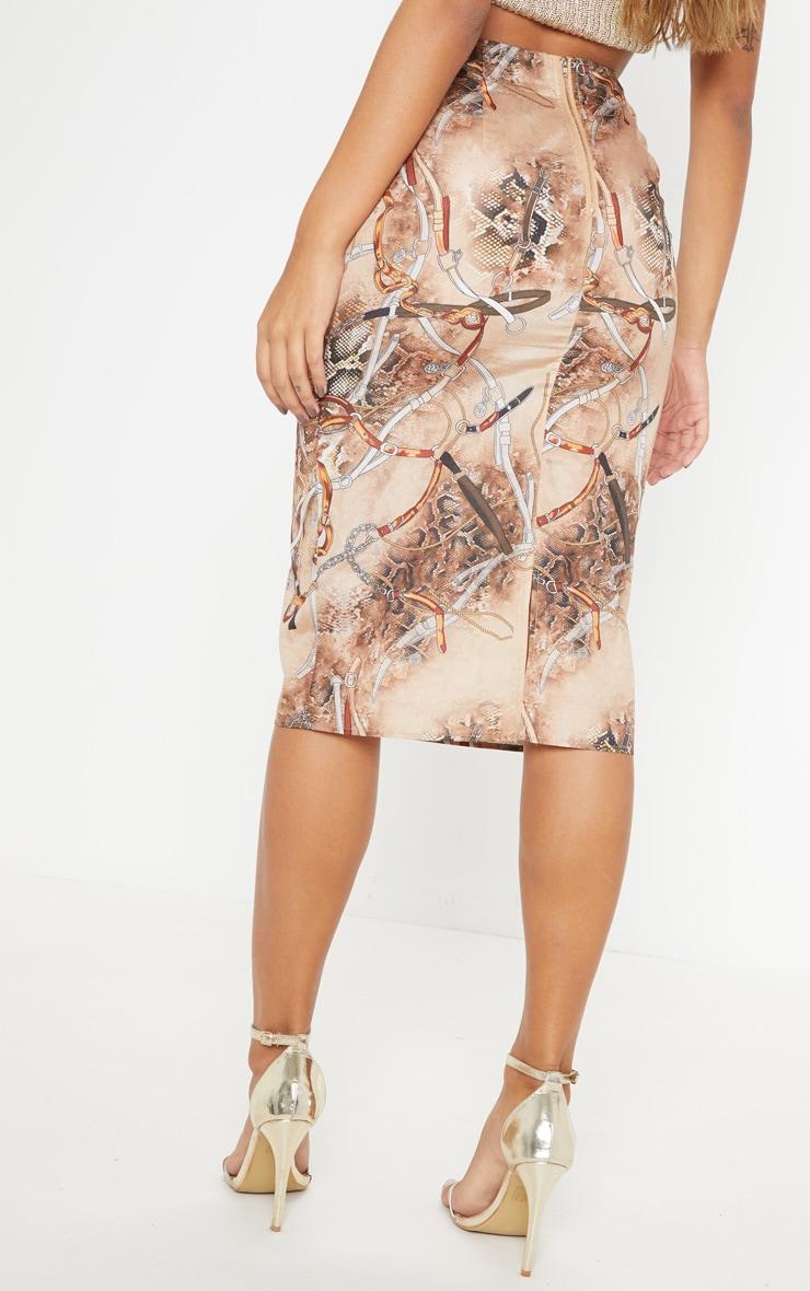 Chain Snake Print Midi Skirt 4