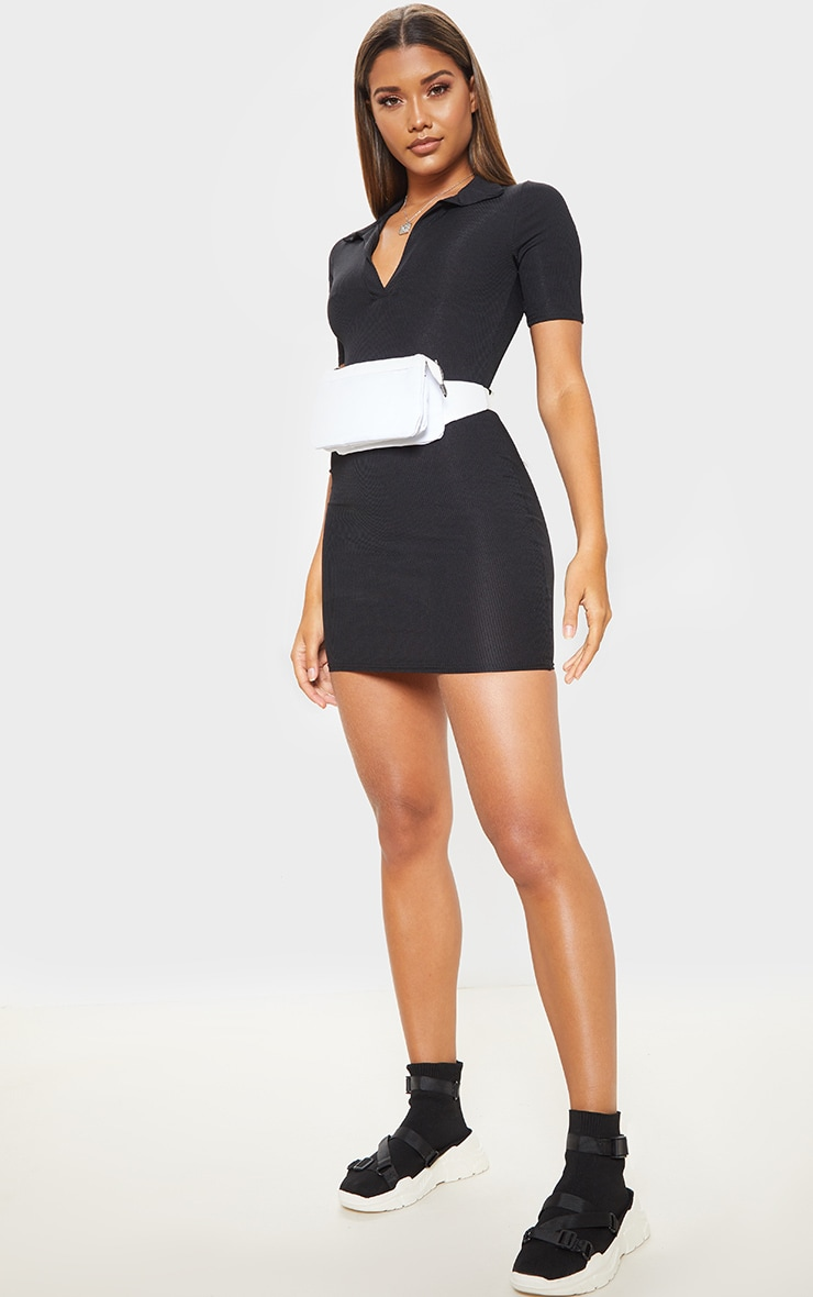 Black Ribbed Polo Shift Dress 4