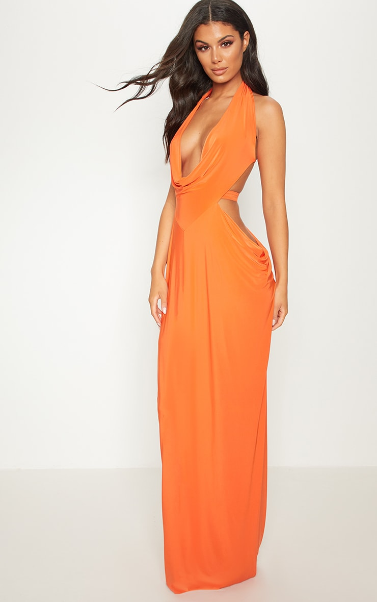 Bright Orange Extreme Cowl Maxi Dress 4