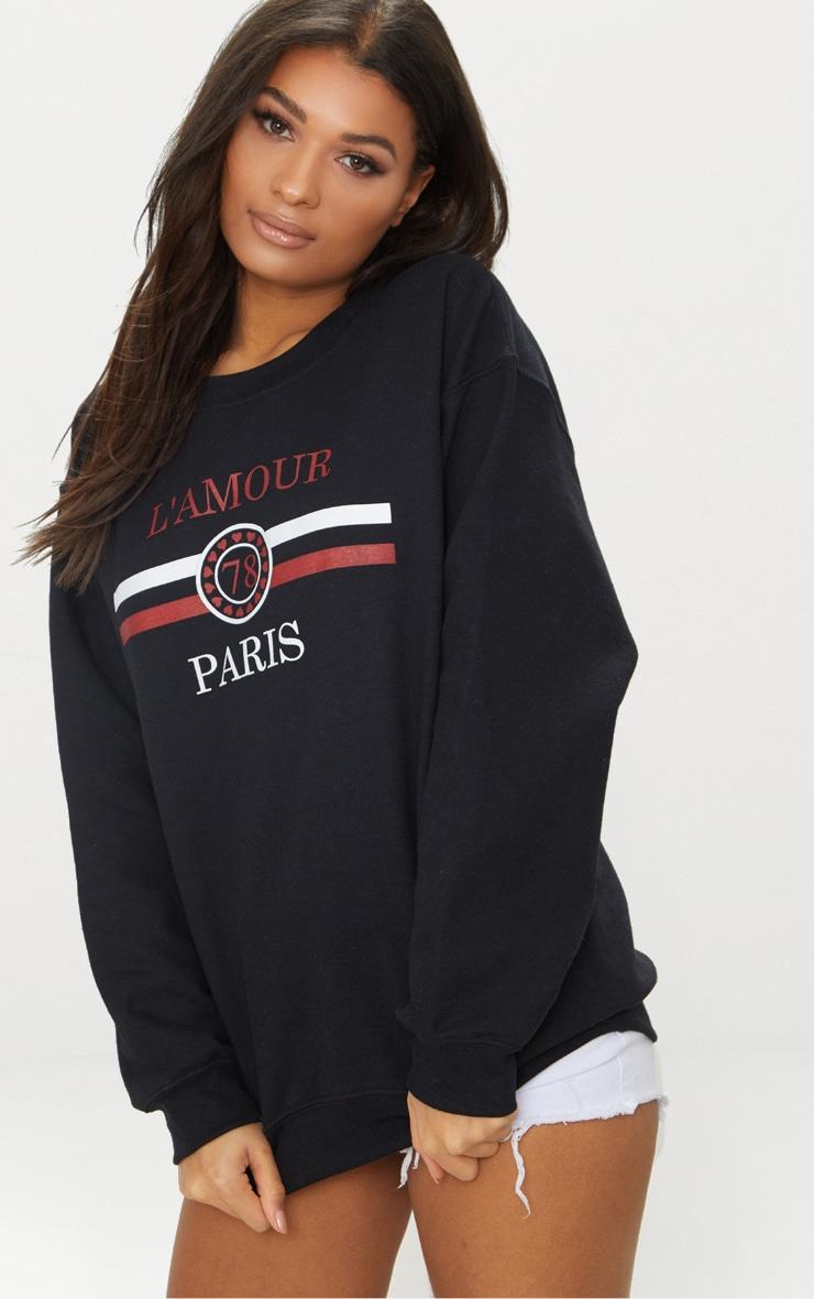 Black Lamour Slogan Sweater 1