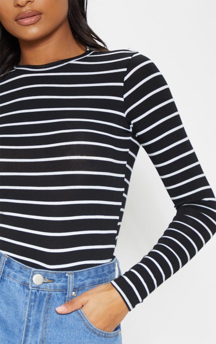 Mono Stripe Jersey Crew Neck Long Sleeve Top 5