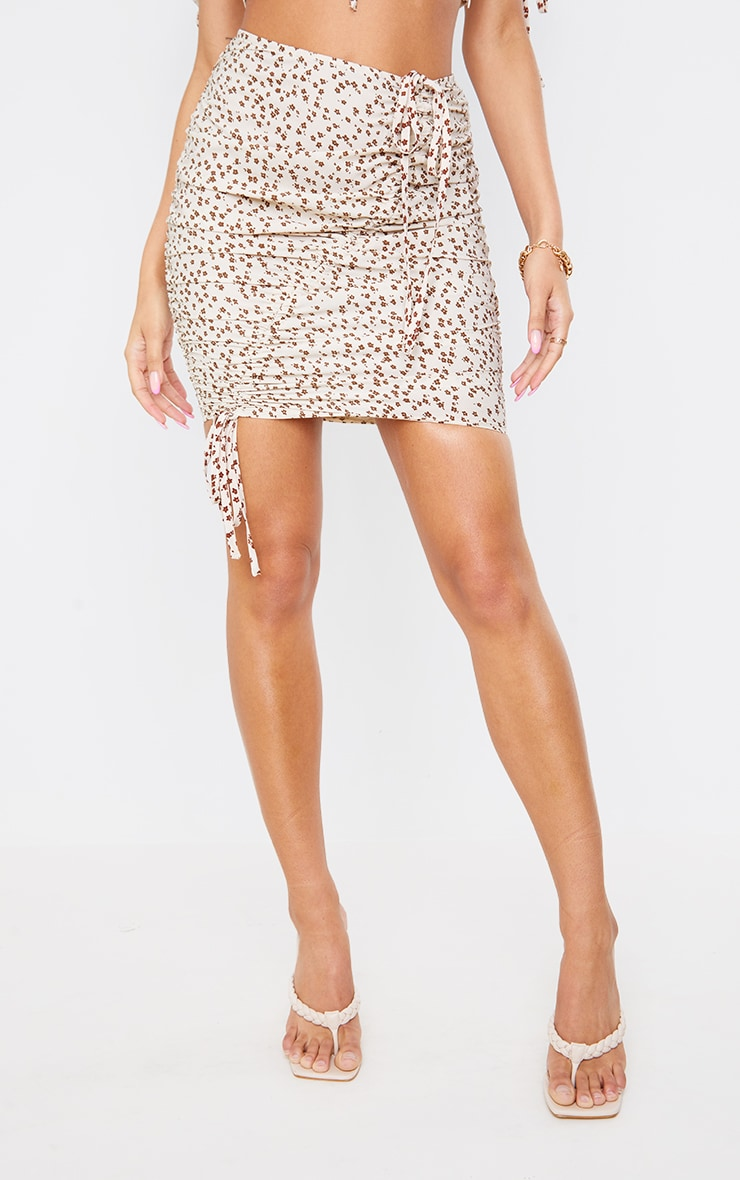 Cream Ditsy Floral Printed Woven Ruched Tie Detail Mini Skirt 2