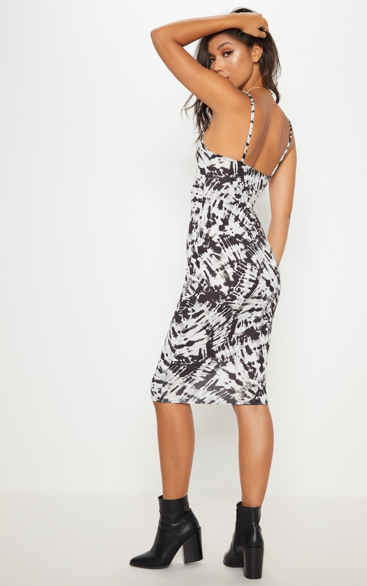 Monochrome Tie Dye Strappy Midi Dress 2