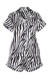 Zebra Button Up Short Satin PJ Set 3
