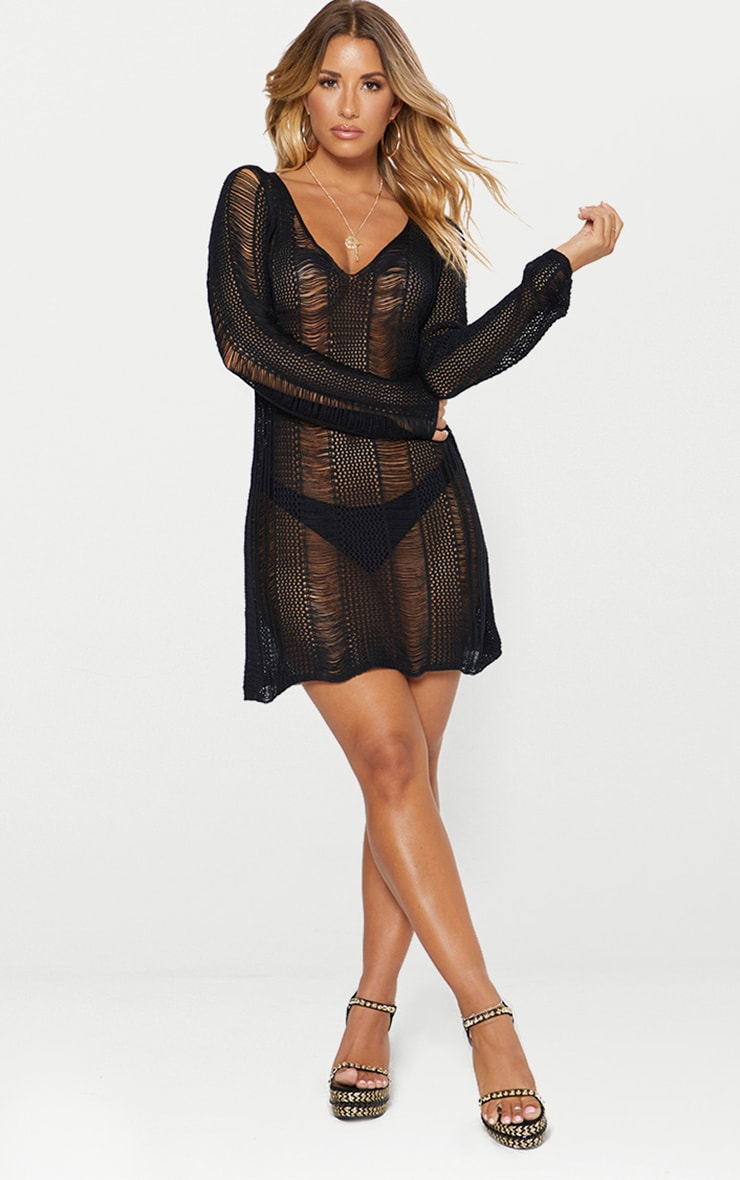Black Crochet Ladder Dress 4