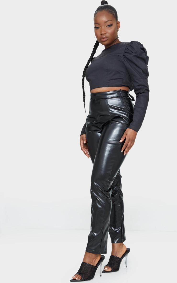 Petite Black Puff Shoulder Tie Back Blouse 3