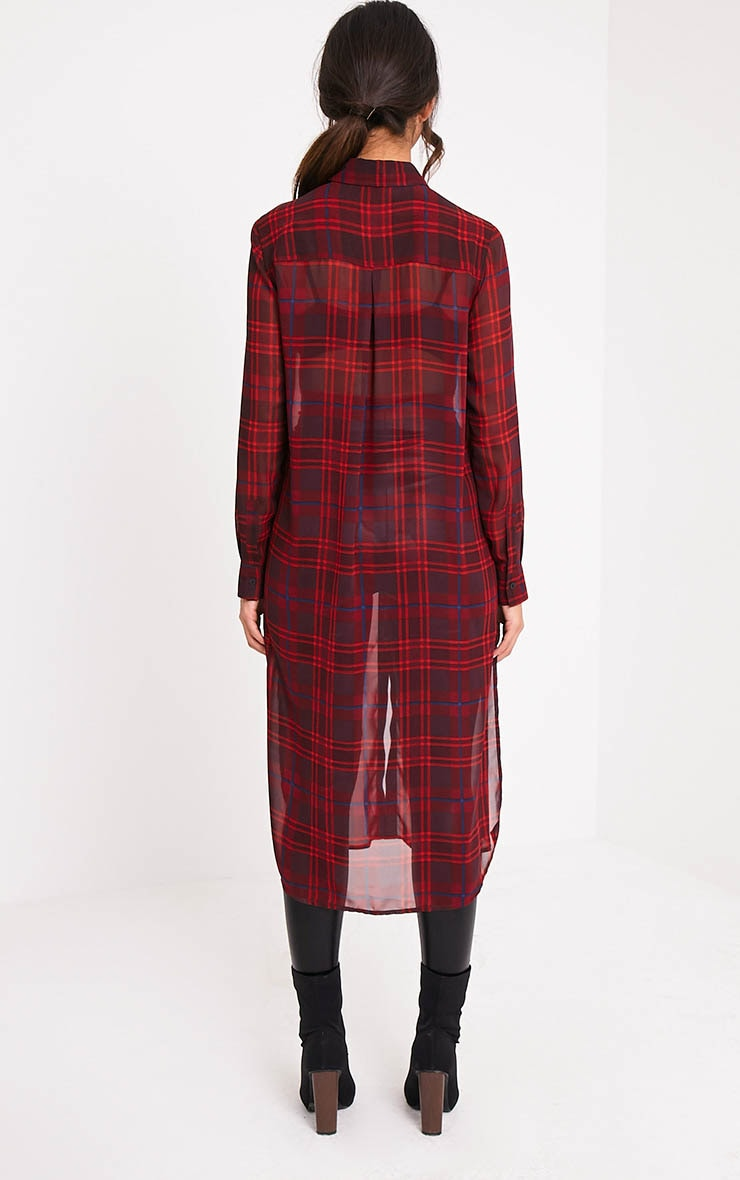 Leonie Red Soft Chiffon Check Longline Shirt 2